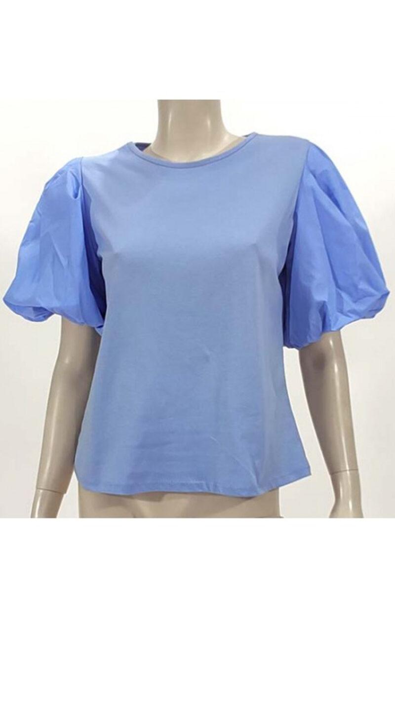 Μπλούζα με φούσκα μανίκι σιέλ 3902-1