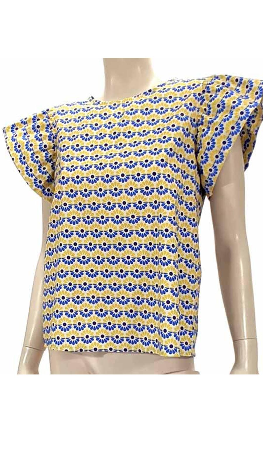 Μπλούζα εμπριμέ με βολαν κίτρινο 4502-2
