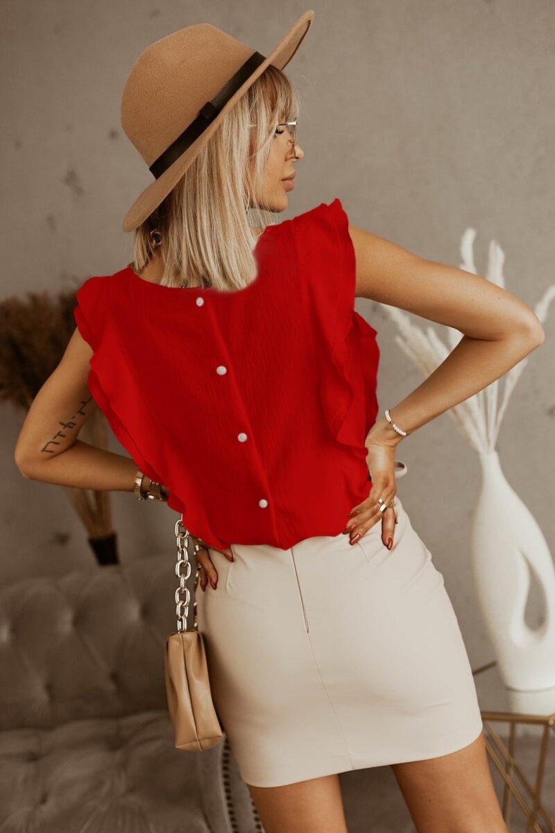 Μπλούζα με βολάν κόκκινο 3002-5