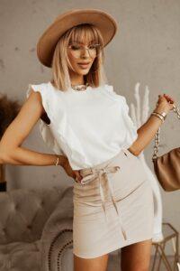 Μπλούζα με βολάν λευκή 3002-1