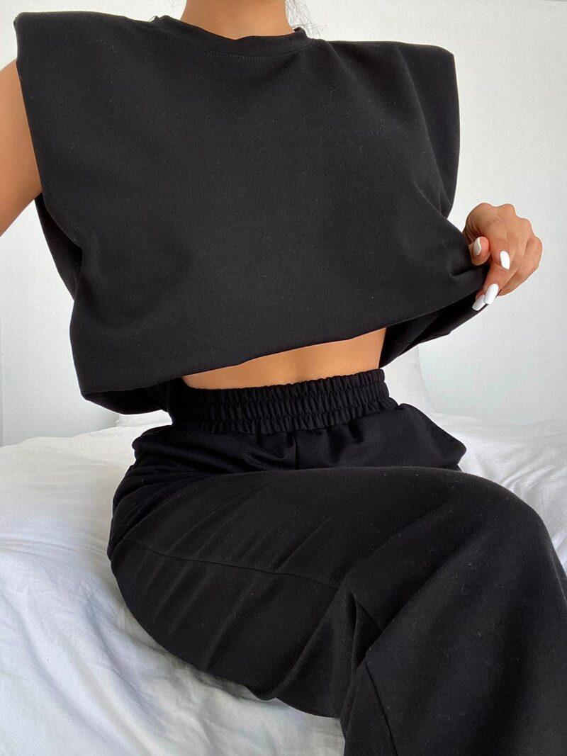 Σέτ φόρμες με βάτες μαύρο 3001-3