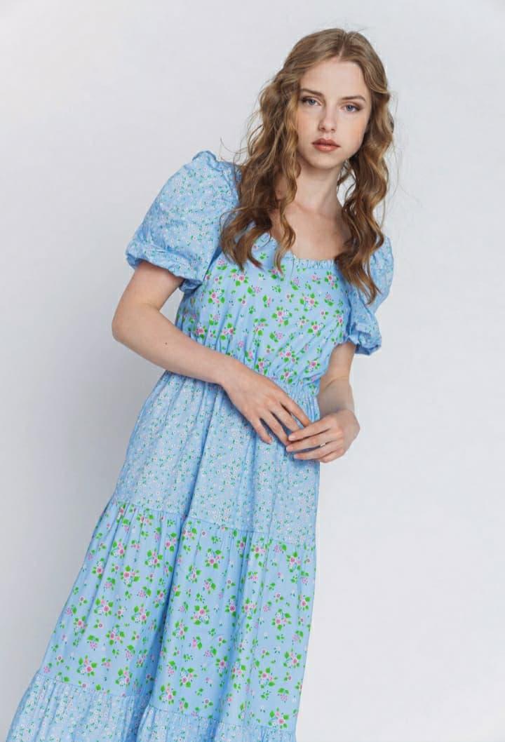 Φόρεμα φλοράλ γαλάζιο 3201