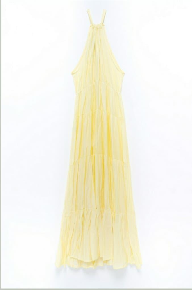 Φόρεμα maxi αμάνικο κίτρινο 3189-1