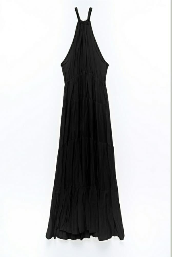 Φόρεμα maxi αμάνικο μαύρο 3189-2