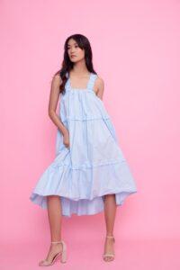 Φόρεμα με τυράντες γαλάζιο 3466