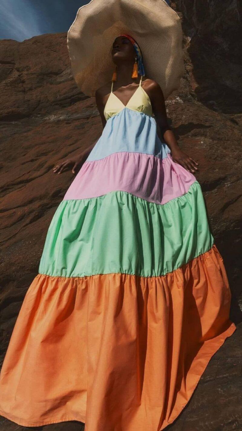 Φόρεμα μάξι πολύχρομο 3525