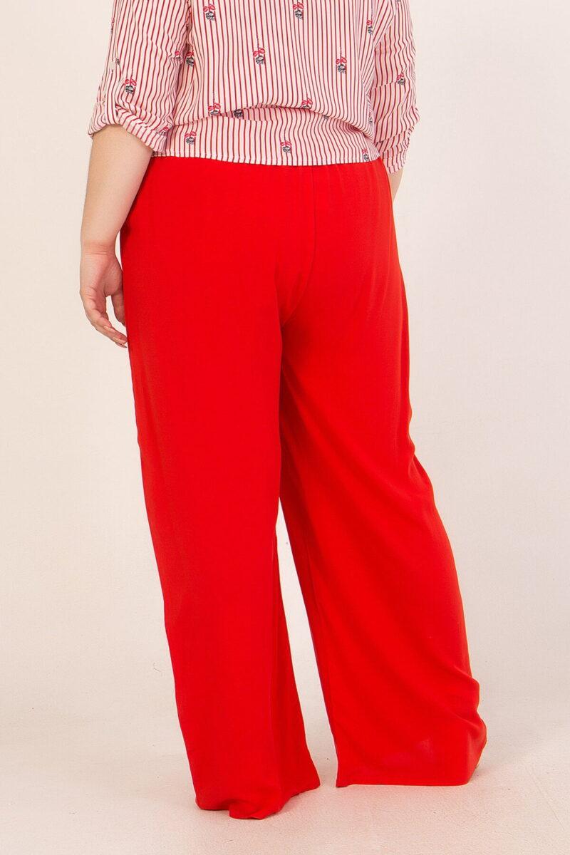 Παντελόνα καμπάνα ψηλόμεση με λάστιχο στη μέση κόκκινη 2160.41459