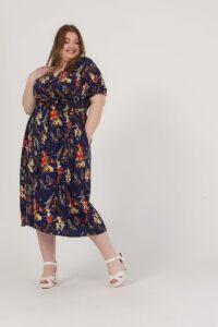 Φόρεμα midi floral με ζώνη στη μέση 2160.91088-1