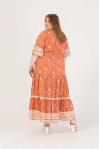 Φόρεμα εμπριμέ πορτοκαλί 2160920111702