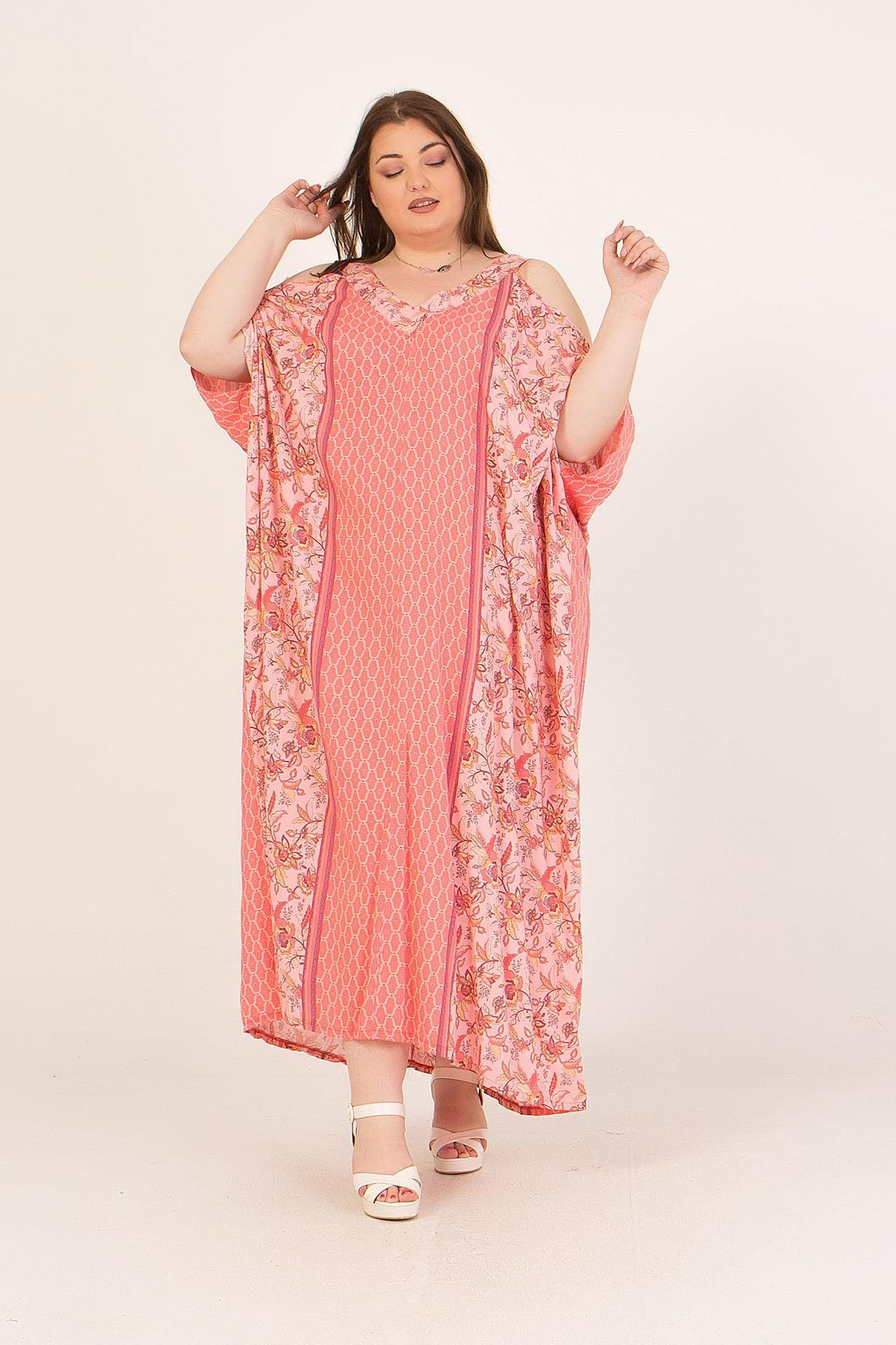 Φόρεμα maxi εμπριμέ με μανίκια νυχτερίδα 2160.92135-1