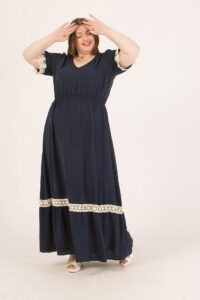 Φόρεμα maxi με λάστιχο στη μέση μπλέ σκούρο 2160.92144
