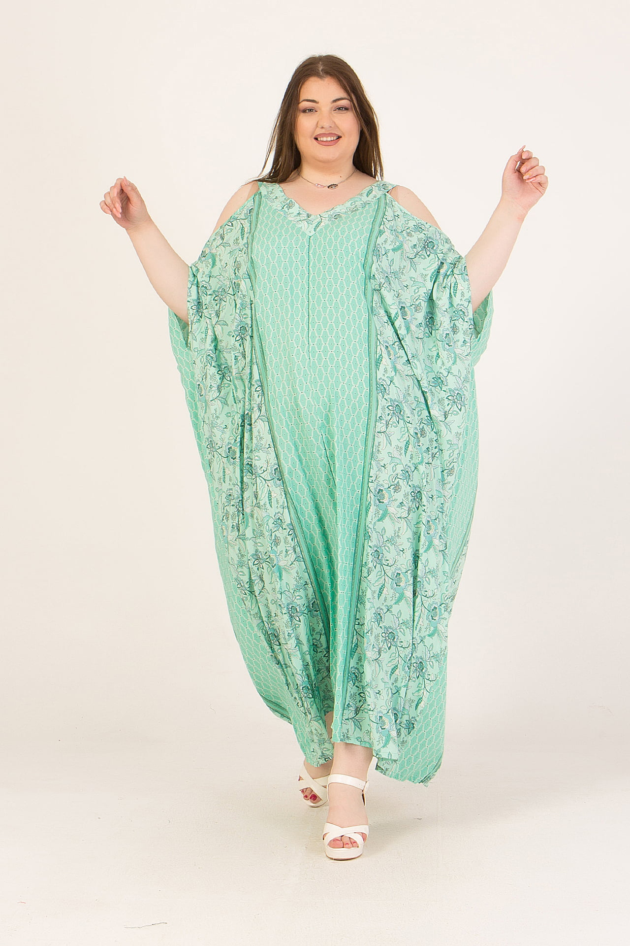 Φόρεμα maxi εμπριμέ με μανίκια νυχτερίδα 2160.92135