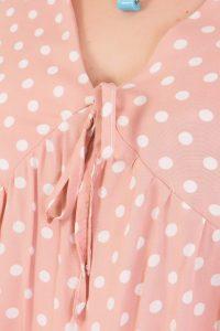 Μπλούζα κοντομάνικη με δέσιμο μπροστά πουά ρόζ 2160.31319