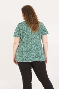 Μπλούζα κοντομάνικη με δέσιμο μπροστά φλοράλ πράσσινο 2160.31319-1