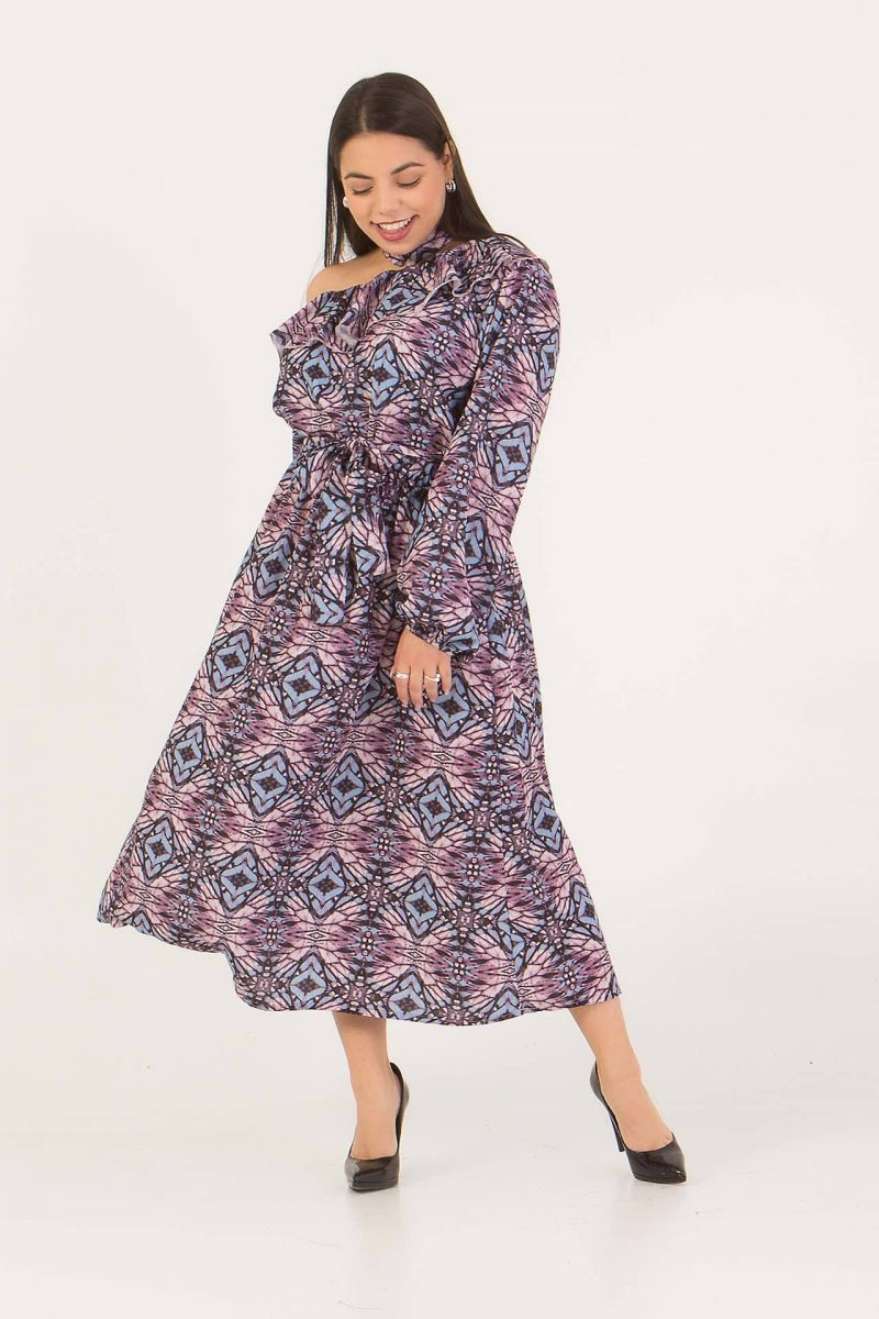 Φόρεμα εμπριμέ μώβ 226891412