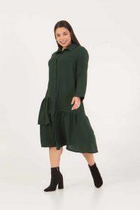 Φόρεμα – Πουκαμίσα σμαραγδί 226892322-3